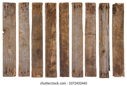 Old rustic wooden planks isolated on white