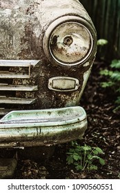 old rusty abandoned car outdoors macro
