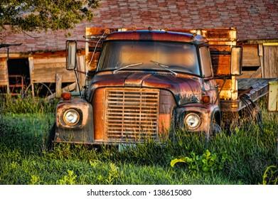 Old rusty abandoned farm truck, Montana, USA