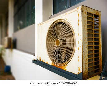 Old rusty air conditioner outdoor