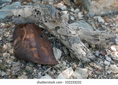 Old rusty in among stones and wood outdoors