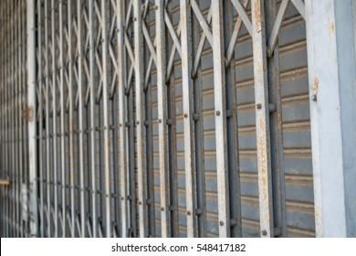 Old rusty antique slide steel door pattern