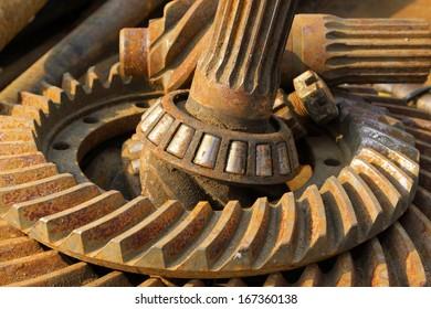 old rusty ball bearing, closeup of photo