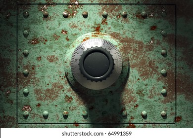 Old and rusty bank vault, 3d render