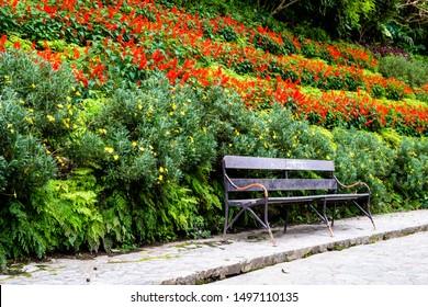Fantastic Metal Bench In Public Park Images Stock Photos Vectors Evergreenethics Interior Chair Design Evergreenethicsorg