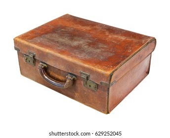 Old and rusty brown color genuine leather suitcase or chest isolated on white, trunk, luggage, 