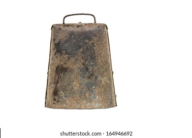 An old rusty brown cow bell isolated on a white background.
