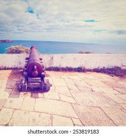 Old Rusty Cannon Guarding the Portuguese Fortress Sagres, Instagram Effect