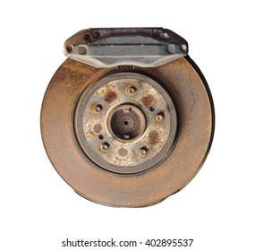 Old and rusty car disc brake and caliper, isolated on white background