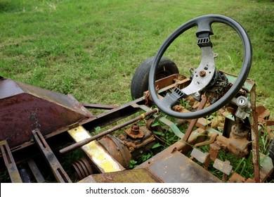 old rusty car frame body