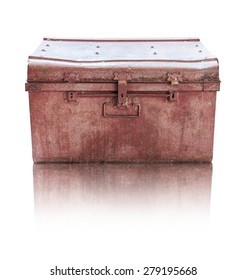 Old rusty casket on white background with clipping path