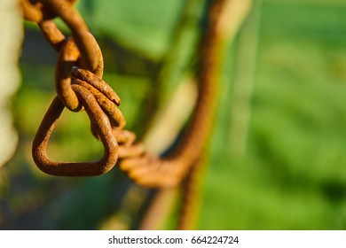 Old rusty chain of a wagon in front of a green field background