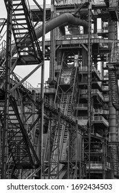 Old rusty construction of abandoned metallurgical plant