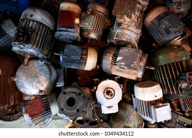 a lot of old rusty electric motors, texture.