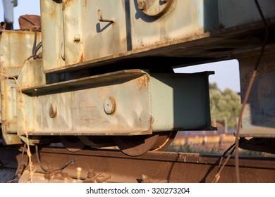 Old rusty forsaken barges