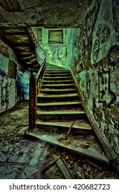 Old Rusty Green Stair. Vintage...HDR Artistic effect