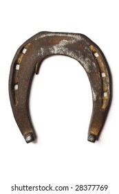 an old, rusty horseshoe on white