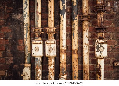 Old rusty industry pipes, part of a blast furnace