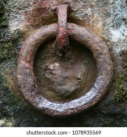 Old rusty iron ring for gripping - detail