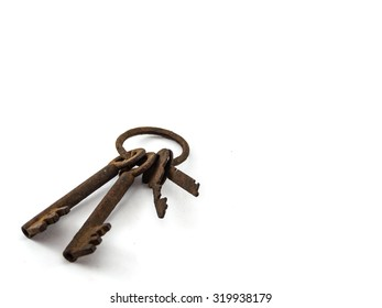 The old rusty key of isolated
