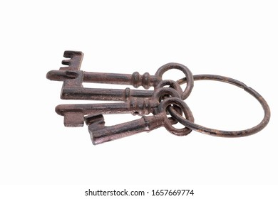 Old rusty keys isolated on white background