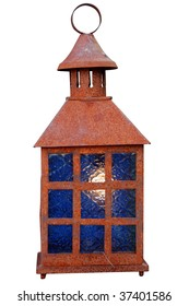 Old rusty lantern isolated on white. With clipping path