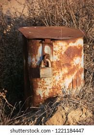 Old rusty lockbox
