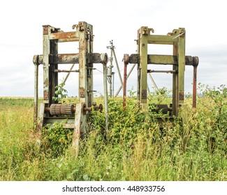Old rusty machinery. Grunge background.