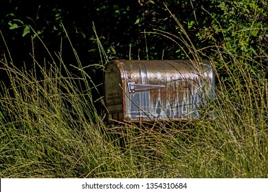 Old Rusty Mailbox in the Weeds along a Country Road