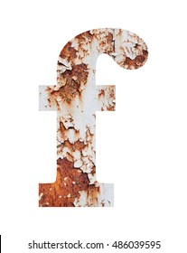 Old rusty metal alphabet, text f, isolated over the white background
