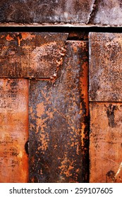 old rusty metal background with scratched and shabby old paint
