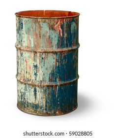 Old rusty metal barrel covered with multicolored spots isolated on white background
