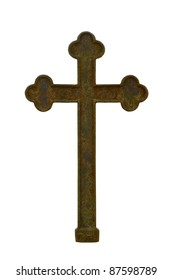 Old rusty metal cross isolated on white