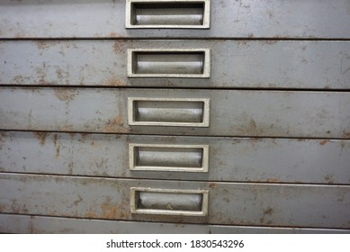 Old and rusty metal  drawer