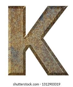 Old rusty metal english alphabet.