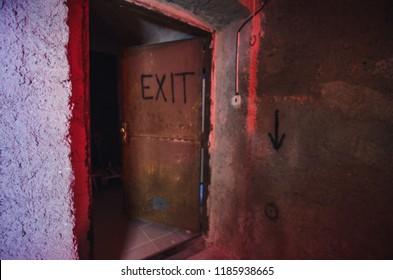 Old rusty metal EXIT door