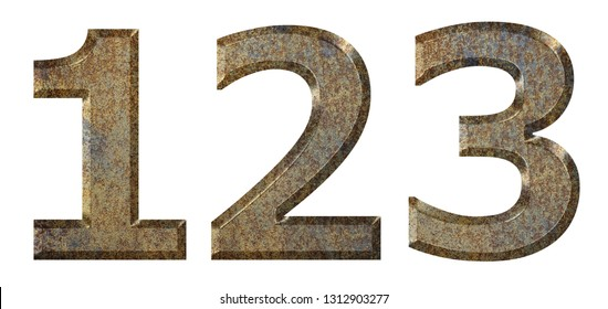Old rusty metal numbers and signs isolated.