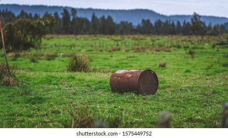 Old Rusty Metal Oil Tank