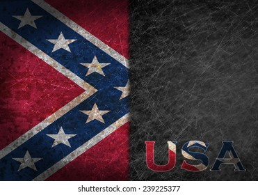 Old rusty metal sign with a flag and country abbreviation - Confederate flag