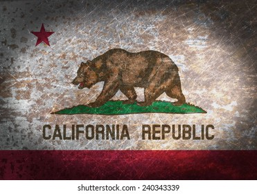 Old rusty metal sign with a flag - California