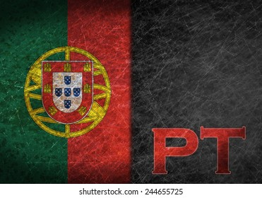 Old rusty metal sign with a flag and country abbreviation - Portugal