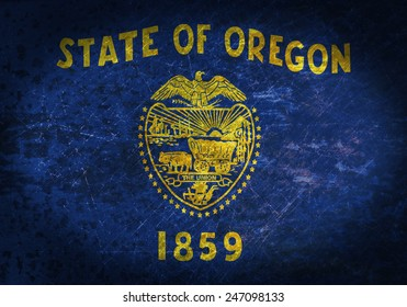 Old rusty metal sign with a flag - Oregon