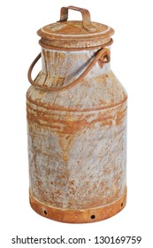 Old rusty milk can over a white background