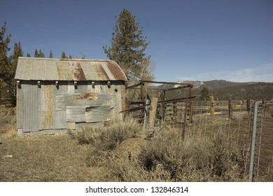 Old rusty miner's shack or cattle barn