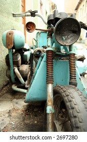 Old rusty motorcycle