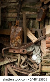 old rusty objects on the background of bricks