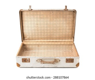 old and rusty opening aluminium suitcase on white background