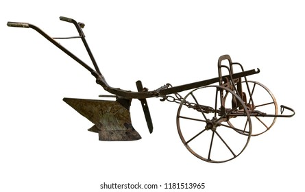 Old rusty plow isolated on white background