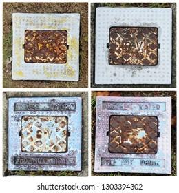 Old Rusty Recycled Water Meters composite, Various Rusty water meter  lids