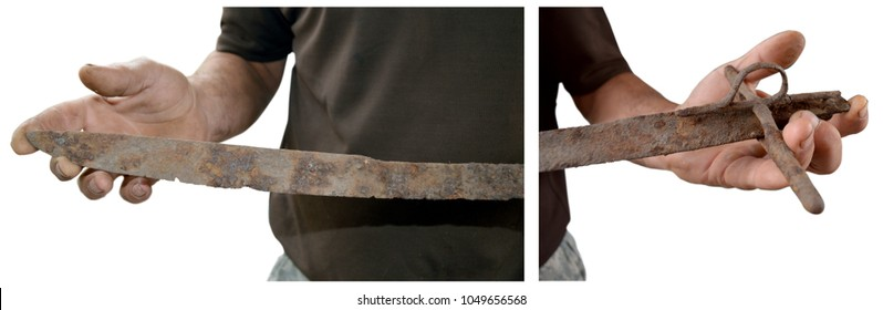 old rusty saber of Ukrainian Cossacks in their hands
